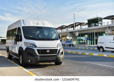 Antalya / Turkey - 09.27.18: Airport shuttle Fiat Ducato on background monorail station