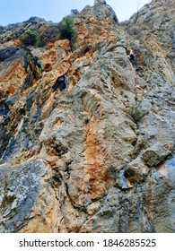 Antalya, Turkey, 10/06/2020, mountains with rock climbers.  Antalya province is three-quarters covered by mountains. The mountains soar up from the coast, offering outstanding views of the Mediterrane