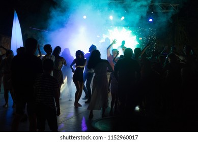 ANTALYA, TURKEY, 15TH JULY 2018 - Russian tourists dance at a free public nightclub in the popular resort of Antalya in turkey in the summer of 2018
