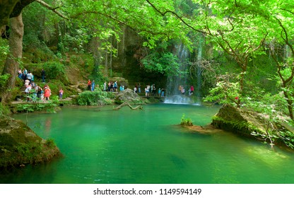 Antalya, TURKEY - 30 April , 2018: Waterfall park at Antalya, Turkey. Kursunlu selalesi