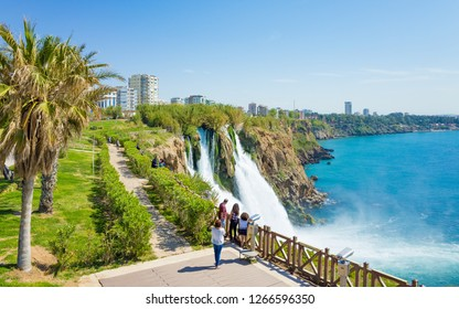 Antalya, Turkey - April 07, 2017: Aerial view of Lower Duden waterfall in Antalya, Turkey. Water cascading 40 meters from platform into Mediterranean sea.
