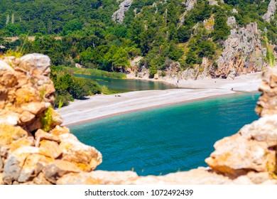 Antalya, Turkey - April 17, 2018: View from Olympos, the Mediterranean coast of Turkey, Antalya Province.