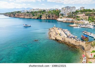 Antalya, Turkey - April 21, 2018: View of old Marina or port harbor Kaleici