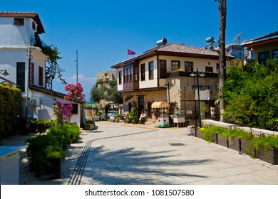 Antalya, Turkey - April 30, 2018 : View of street in Kaleici historical district of Antalya in Turkey. Old town is popular destination among tourists in Antalya.