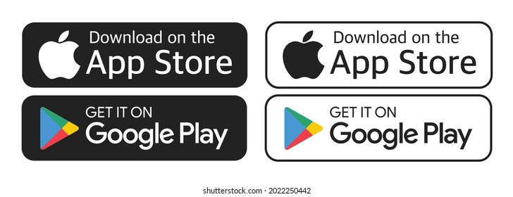Antalya, Turkey - August 10, 2021: Download on the App Store and Get it on Google Play button icons, printed on paper