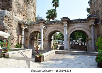 ANTALYA, TURKEY - AUGUST 16, 2019: Hadrian's Gate, a Roman city gate in Antalya, as seen from inside.