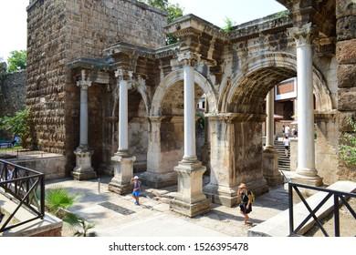 ANTALYA, TURKEY - AUGUST 16, 2019: Hadrian's Gate, a Roman city gate in Antalya, as seen from outside.