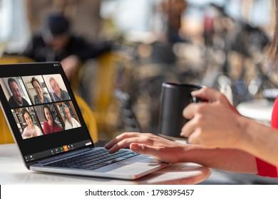 Antalya, TURKEY - August 18, 2020. Laptop showing Zoom Cloud Meetings app.