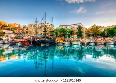 Antalya, Turkey - December 14, 2012 : Old Harbour view in Antalya City. Antalya is populer tourist destination in Turkey.