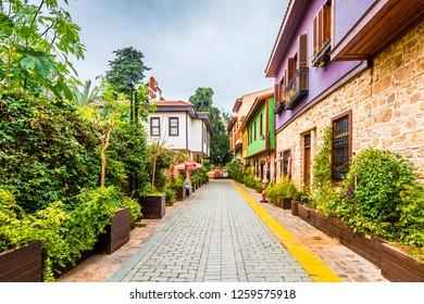 Antalya, Turkey - December 14, 2018 : Street view of Antalya Kaleici in Turkey. Old town of Antalya is a popular tourist destination.