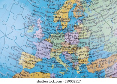 ANTALYA, TURKEY - DECEMBER 17, 2016: Close up image of continent Europe on a globe