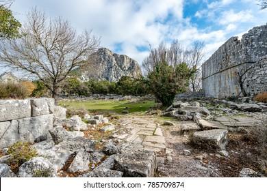 Antalya - Turkey. December 21, 2017. The Bouleterium Odeon in Termessos Ancient City in Antalya, Turkey.Termessos one of Turkey's major attractions, 30km northwest of Antalya , these soaring mountain
