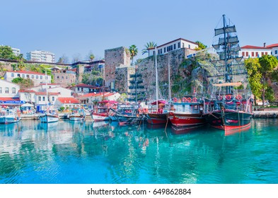 ANTALYA, TURKEY - FEB. 27, 2017: Old town Kaleici in Antalya, Turkey