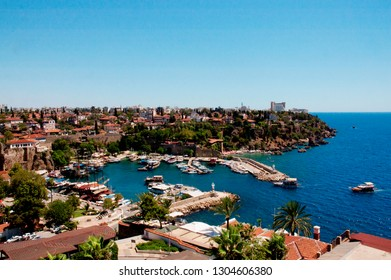 Antalya, Turkey - February 2019 Old Town and Old Harbour of Antalya Kaleiçi