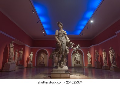 ANTALYA, TURKEY - FEBRUARY 21, 2015: The statue of a dancing woman, dated 200 AD, at Antalya Archeological Museum,  found at the ancient city of Perge, together with other statues found at Perge.