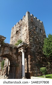 Antalya, Turkey- Hadrian's Gate, which is the only gate to the present day that surrounds old Antalya and its harbor, is one of the places visited by tourists. September 26, 2012.