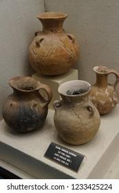 ANTALYA, TURKEY - JUN 2, 2014 - Ancient pottery excavated near  Antalya,  Turkey