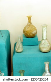 ANTALYA, TURKEY - JUN 2, 2014 - Roman glass vessels found near  Antalya,  Turkey