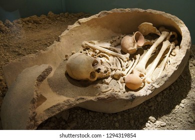 ANTALYA, TURKEY - JUN 2, 2014 - Ancient human burial in urn in museum Antalya,  Turkey