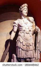 ANTALYA, TURKEY - JUN 2, 2014 - Roman emperor Hadrian, 2nd century CE, statue from Perge  in  TurkeyRoman emperor Hadrian, 2nd century CE, statue from Perge  in  Turkey