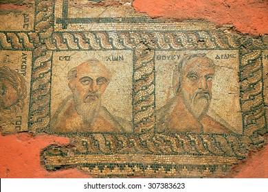 ANTALYA, TURKEY - JUN 2, 2014 - Ancient Christian mosaic of apostles,  Antalya,  Turkey