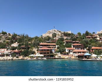 Antalya, Turkey - June 23, 2018:Kayakoy Kekova(Simena) village,Fethiye,Mugla Sunken city of Kekova in bay of Ucagiz