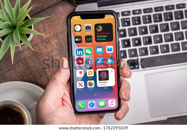 Antalya, TURKEY - June 23, 2020.  new ios 14 screen iphone, Apple's next operating system for its smarphones to be released