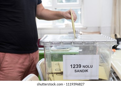 Antalya, Turkey - June 24, 2018: Presidential and parliamentary elections about regime shift, Man is voting during election.