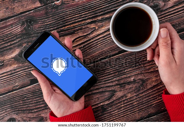 Antalya, TURKEY - June 8, 2020. Smart phone showing Signal Private Messenger app logo.