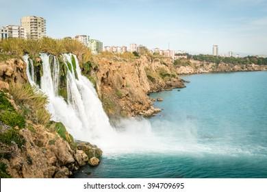 Antalya, Turkey - March 12, 2015: Waterfall on Duden river in Antalya, Turkey