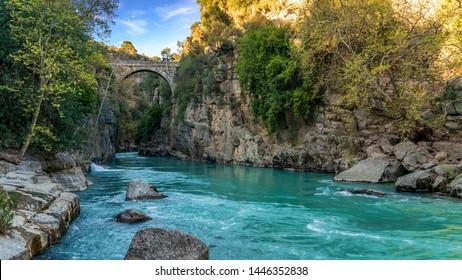 Antalya, Turkey - March 2019: Oluk Bridge across Kopru Irmagi creek in Koprulu Kanyon national park in Antalya Turkey.