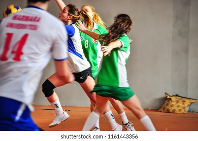 Antalya, Turkey - March 26, 2013: Female Korfball player passing through the defense - photography taken during a non-profit amateur championship without press involved