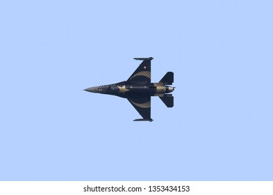 ANTALYA, TURKEY, MARCH 3 2019: A photograph documenting the Turkish Air Force Solo Fast Jet Display in their F16 Fighting Falcon aircraft performing a pair display at Konyaalti Beach
