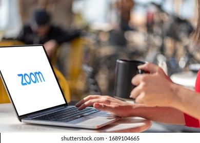 Antalya, TURKEY - March 30, 2020. Laptop showing Zoom Cloud Meetings app logo.