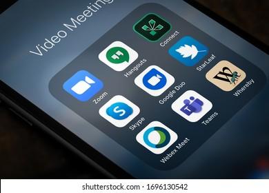 Antalya, TURKEY - March 30, 2020. smartphone phone showing Zoom Cloud Meetings and alternative app logo.