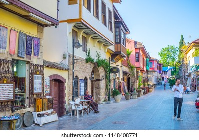 ANTALYA, TURKEY - MAY 11, 2017: Walk in old tourist quarters with antique stores in historical townhouses, small cafes, handicraft workshops and art galleries, on May 11 in Antalya.