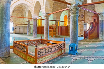 ANTALYA, TURKEY - MAY 12, 2017: Prayer hall of Alaaddin Mosque, also known as Yivliminare or Ulu Cami (Grand), Roman columns are neighboring with carved Arabic furniture, on May 12 in Antalya.