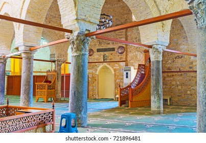 ANTALYA, TURKEY - MAY 12, 2017: Interior of Seljuk Alaaddin Mosque, also known as Yivliminare or Ulu Cami (Grand), decorated with ancient columns preserved of Roman buildings, on May 12 in Antalya.