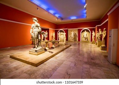 ANTALYA, TURKEY - MAY 15: Ancient antique statues exhibited in the Museum of Antalya. Partially destroyed they are restored by fragments. May 17, 2018 in Antalya, Turkey