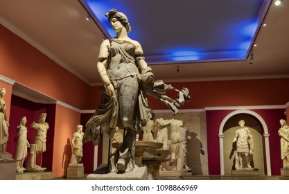 ANTALYA, TURKEY - MAY 17: Ancient antique statues exhibited in the Museum of Antalya. Partially destroyed they are restored by fragments. May 17, 2018 in Antalya, Turkey
