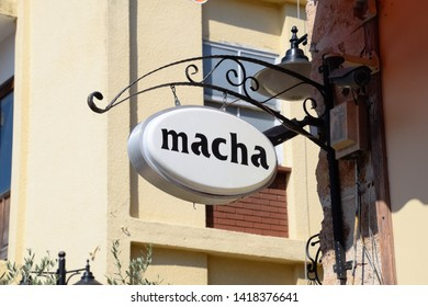 Antalya, Turkey - May 19, 2019: The inscription of the Russian name Masha on the cafe sign.