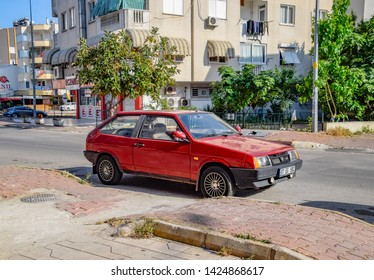 Antalya, Turkey - May 19, 2019: Car Lada 2108. Eight, people's youth car stands on the street in Antalya.