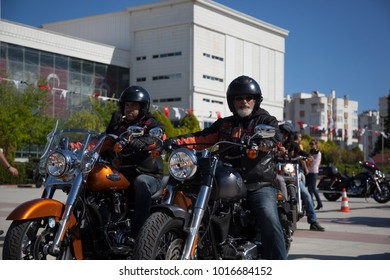 Antalya, Turkey - May 21, 2017: Antalya, Harley Davidson motor convoys on the road. Festival name is Antalya Rally, Demo Truck.