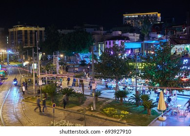 ANTALYA, TURKEY - MAY 21, 2017: Old street night view in the Historic part of Antalya, Turkey. Old town of Antalya is a popular destination: The unique atmosphere of the old city attracts tourists.