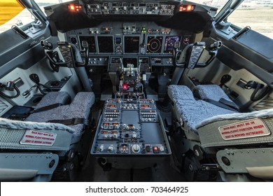 Antalya, Turkey May 26, 2017; International Antalya Airport Turkey.Boeing 737-800 Cockpit view
