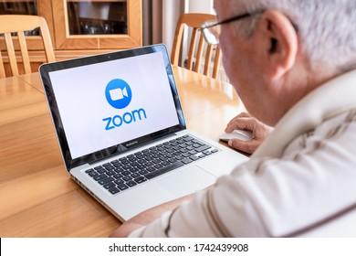 Antalya, TURKEY - May 27, 2020. Laptop computer showing Zoom Cloud Meetings app logo.