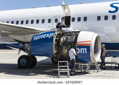 antalya turkey may 28 2017 international antalya airport turkey aircraft mechanic repairs
