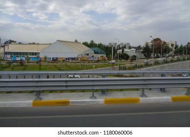 ANTALYA, TURKEY - MAY 6 2017: View of the road in the Antalya region of the Turkish Riviera (Antalya, Kemer, Beldibi, Goynuk, Lara, Belek, Serik, Side)