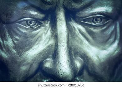 Antalya, Turkey, May 8, 2016:  Blue statue of a man. Face, close-up