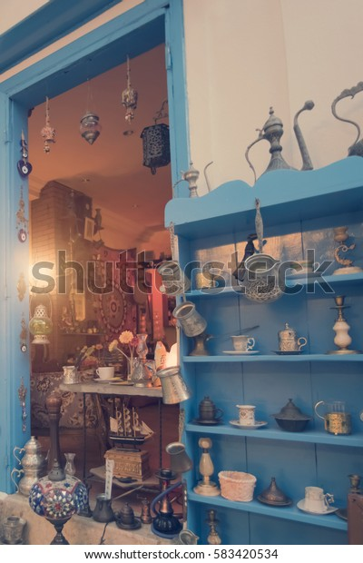 Antalya, Turkey, May 8, 2016: Beautiful interior -  room decorated with antique utensils and various hookahs